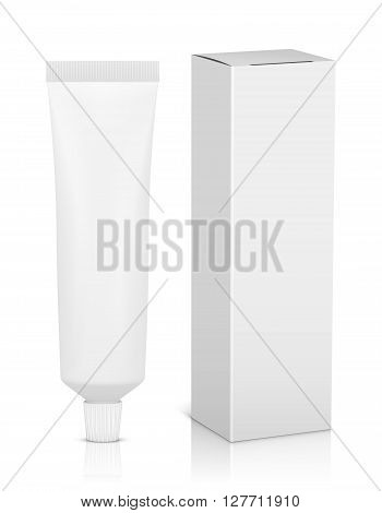 Blank tube with box for toothpaste 3D. vector illustration.