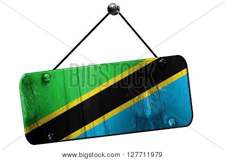 Tanzanian flag, 3D rendering, grunge old sign on a rope