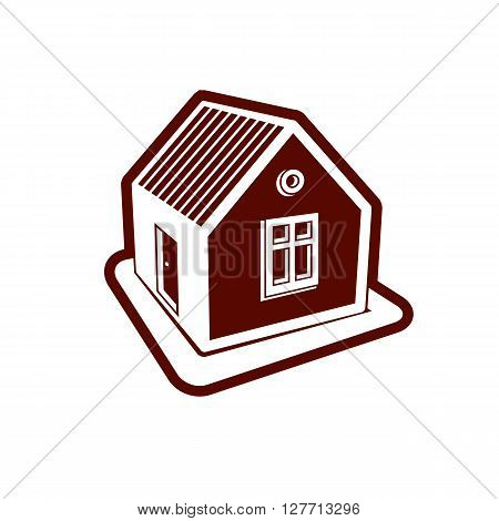 Simple village mansion icon vector abstract house. Country house