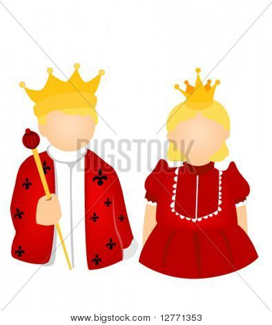 Rey y reina traje del cabrito - Vector