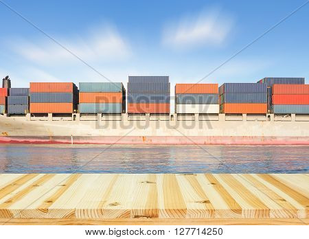 Cargo ship and cargo container with wood floor.