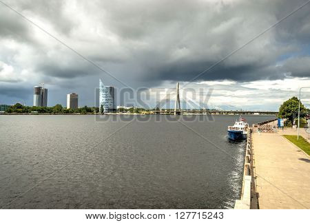 View On Business Buildings Over River, Riga