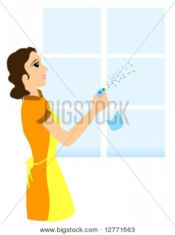 Cleaning Window - Vector