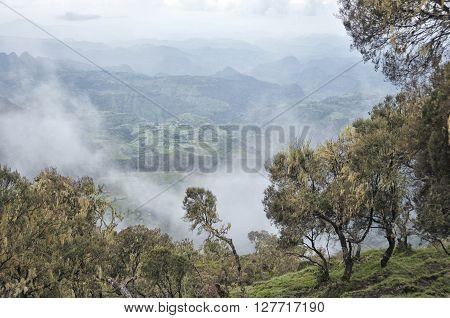 View of landscape on Simien mountains park Ethiopia.