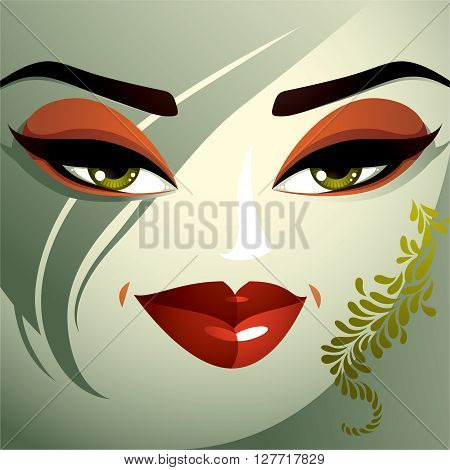 Cosmetology Theme Image. Young Pretty Lady With Fashionable Haircut. Human Eyes, Lips And Eyebrows R
