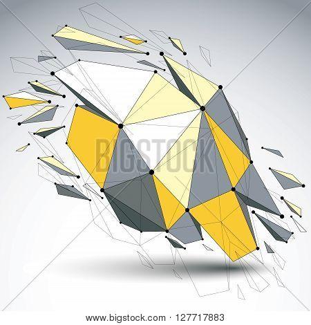 Perspective Demolished Shape, Lines And Dots Connected, Yellow Polygonal Digital Wireframe Object. E