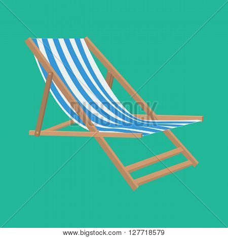 Vector flat style beach chair illustration for summer vacation and travel concept