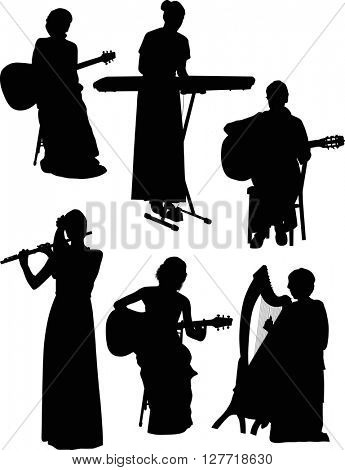 illustration with six musicians isolated on white background