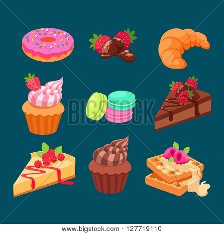 Sweet dessert chocolate sugar cookies decorative set with cream and strawberry decoration isolated vector illustration icon.dessert icon set.vector illustration