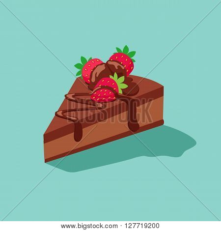 piece of chocolate cake with strawberries.Sweet dessert chocolate sugar cookies decorative set with cream and strawberry decoration isolated vector illustration icon.dessert icon set.vector illustration
