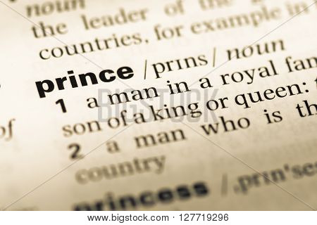 Close Up Of Old English Dictionary Page With Word Prince.