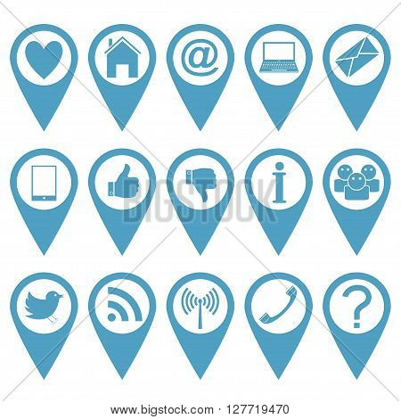 Blue pointer icon set. Heart house mail laptop message phone like info people bird wi-fi question mark