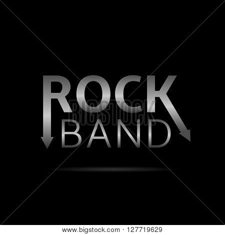 Rock band. Hard music. Silver Metal text on black background