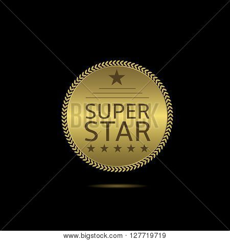 Super star label. Golden badge with laurel wreath and stars. Super star sign