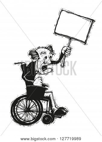 Black and white illustration of elderly man in a wheelchair with a blank board banner