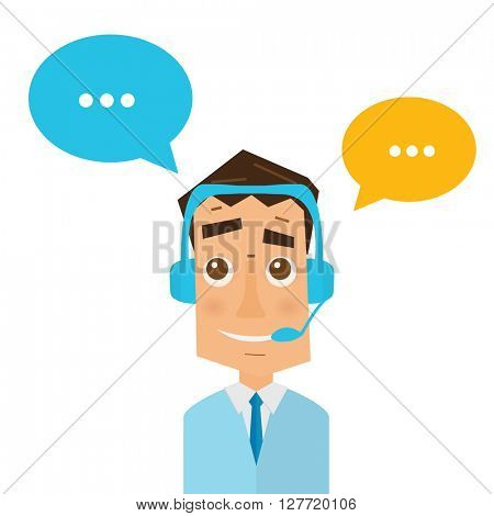 Man with headsets and colorful speech bubbles in call center. Business concept of client service and communication. Online support. 24 hour customer support center.