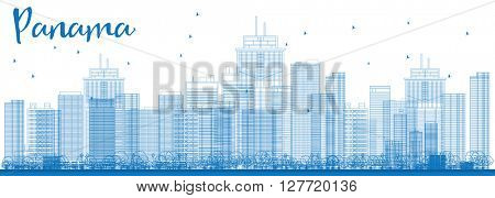 Outline Panama City skyline with blue skyscrapers. Vector Illustration. Business travel and tourism concept with modern buildings. Image for presentation, banner, placard and web site.