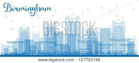 Outline Birmingham (Alabama) Skyline with Blue Buildings. Vector Illustration. Business and tourism concept with skyscrapers. Image for presentation, banner, placard or web site