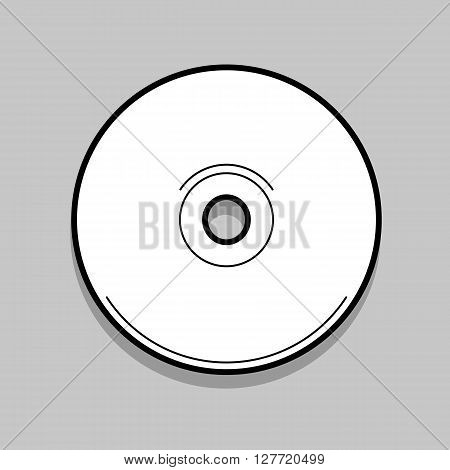 White compact disc on a light gray background.  Compact disc vector illustration. Thin line design.