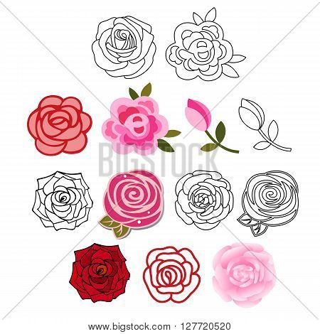Roses with leaves set isolated on white background vector illustration