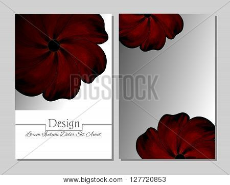 Set of vector design templates.Corporate Identity kit or business kit with artistic abstract colorful design for your business. Vector abstract booklet cover. Beauty brochure. Red flower
