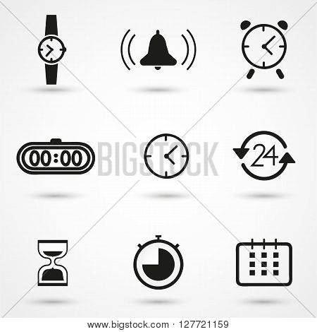 Time and Clock icons set, vector, watch, sand, alarm, hour, flat.