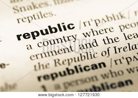 Close Up Of Old English Dictionary Page With Word Republic.