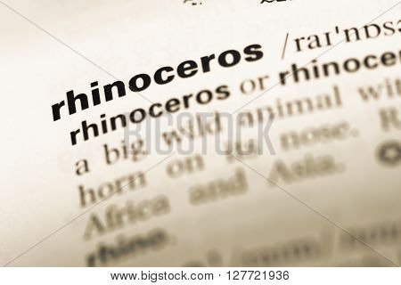 Close Up Of Old English Dictionary Page With Word Rhinoceros.