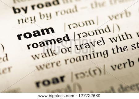 Close Up Of Old English Dictionary Page With Word Roam.