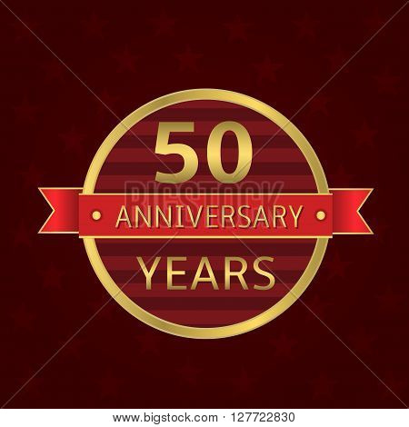 50 years anniversary label. Anniversary Golden badge with red ribbon