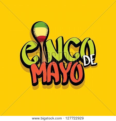 Cinco de Mayo vector concept. Mexican holiday vector. Cinco de Mayo calligraphic greeting card on orange background