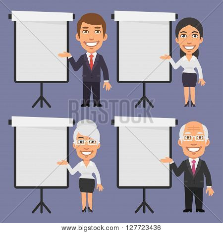 Vector Illustration, Businessman and Businesswoman Points to Blank Flip Chart, format EPS 8