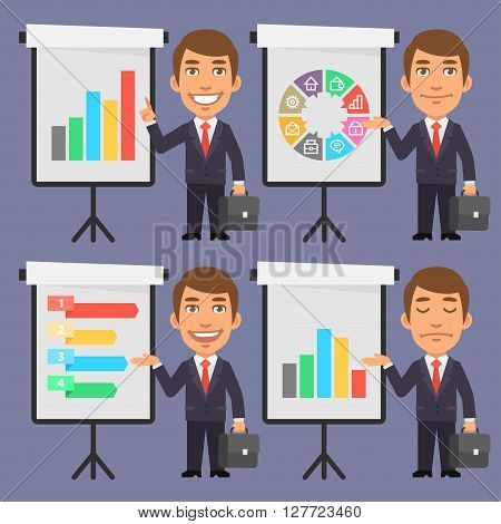 Vector Illustration, Businessman in Suit Points to Flip Chart, format EPS 8