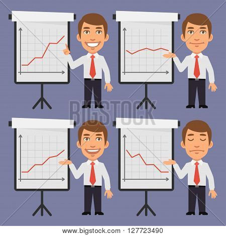 Vector Illustration, Businessman Points on Flip Chart with Graphs, format EPS 8