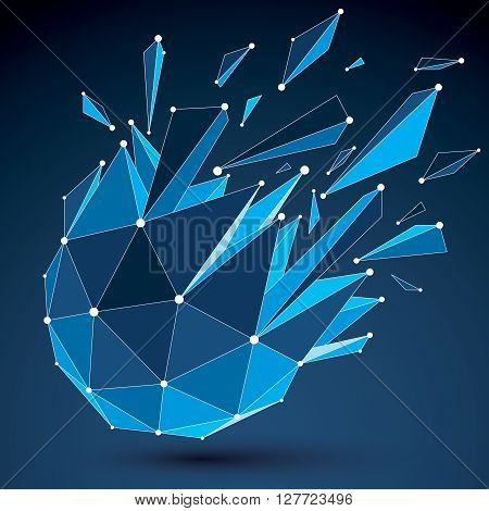 3D Vector Digital Wireframe Object Broken Into Different Particles And Refractions, Geometric Polygo