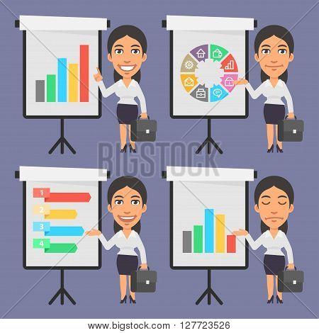 Vector Illustration, Businesswoman Points on Flip Chart, format EPS 8