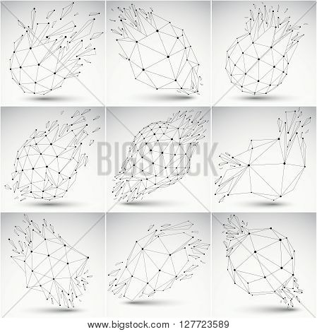 Set Of Low Poly Demolished Shapes With Black Connected Lines And Dots, Polygonal Wireframe Objects.