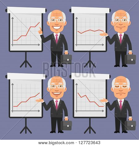 Vector Illustration, Old Businessman in Suit Points to Flip Chart, format EPS 8