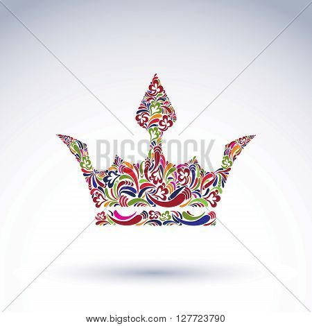 Colorful Flower-patterned Crown, Coronation Vector Design Element. Classic Royal Accessory Decorated