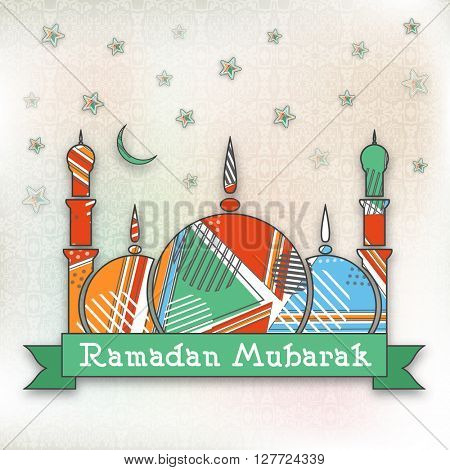 Creative colourful Mosque on stars decorated background for Islamic Holy Month of Prayers, Ramadan Mubarak celebration.