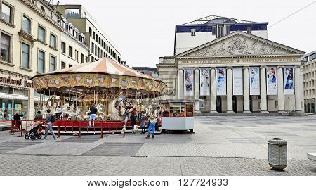 Carousel In Front Of The Royal Theatre La Monnaie In Brussels