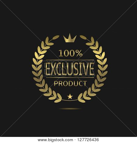 Exclusive product label. Golden symbol with laurel wreath, crown and star