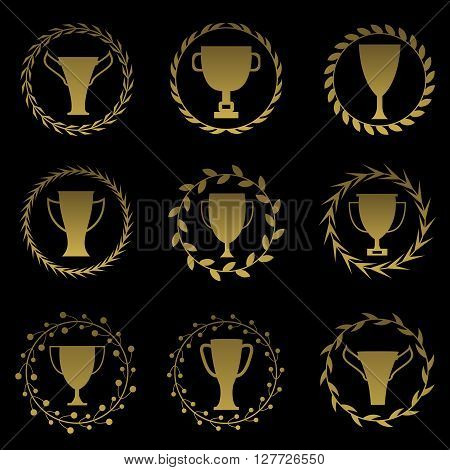 Golden cup set. Award labels. Prize icons. First champion trophy winner prize labels