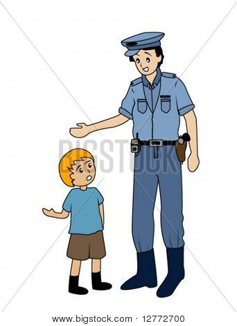 Boy asking Policeman for Directions - Vector