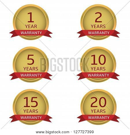 Warranty label set. Golden guarantee badges with red ribbons