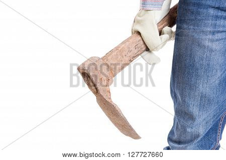 Gardener or constructor holding a hoe on white background with copyspace