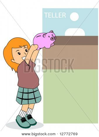 Kid with Piggy Bank - Vector