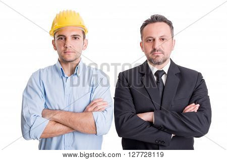 Confident engineer and business man arms crossed standing side by side