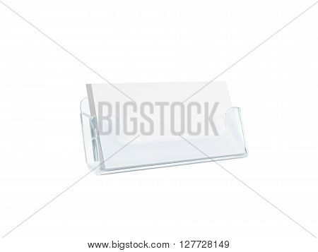 White business card mockup holder isolated. Plastic transparent glass box name calling blank cards. Cardholder branding identity mock up presentation. Flyer leaflet white paper card template design.