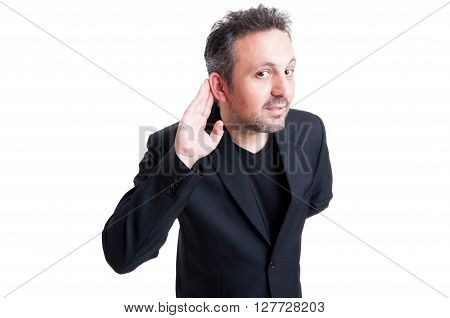 Man listening secrets or gossip concept on white background